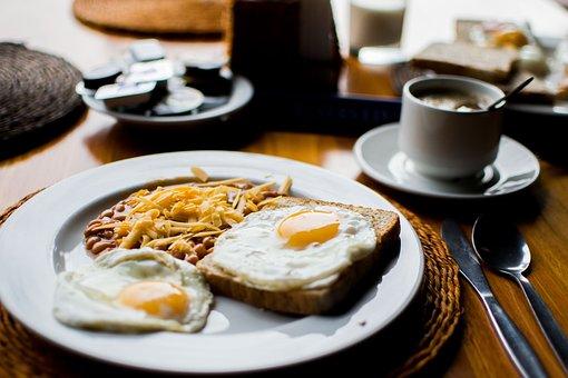 Beans, Bread, Breakfast, Ceramic, Cup, Food, Fork