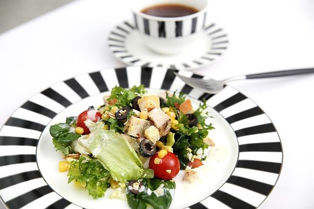 Salad, Coffee, Breakfast, Chicken Salad