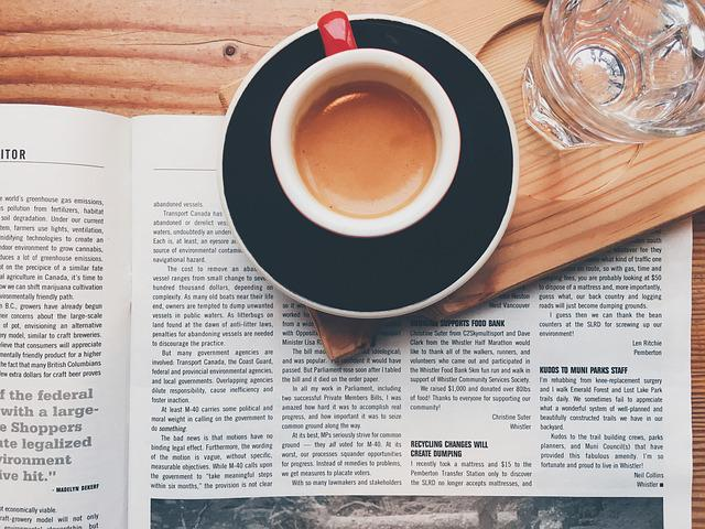 Breakfast, Coffee, Cup, Drink, Glass, Magazine, Page