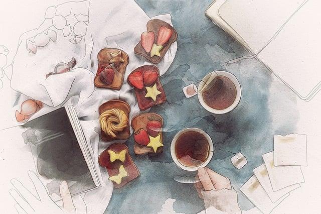 Tea, Toast, Fruit, Study, Notebooks, Breakfast