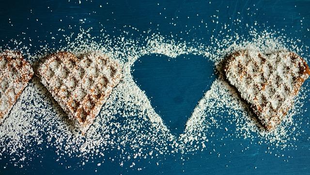 Waffle Hearts, Waffles, Icing Sugar, Eat, Breakfast