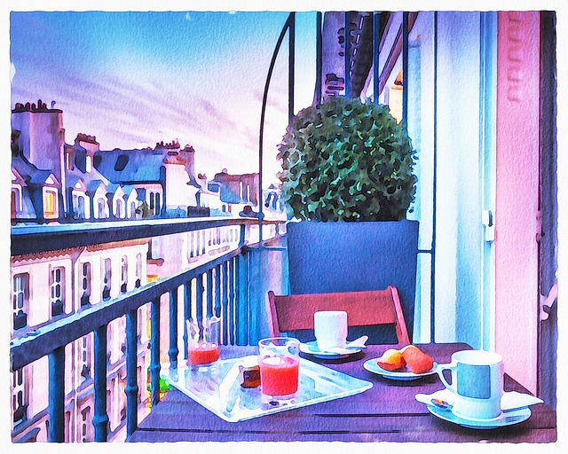 Watercolor Paris Balcony, Paris, Breakfast, Wine, Food