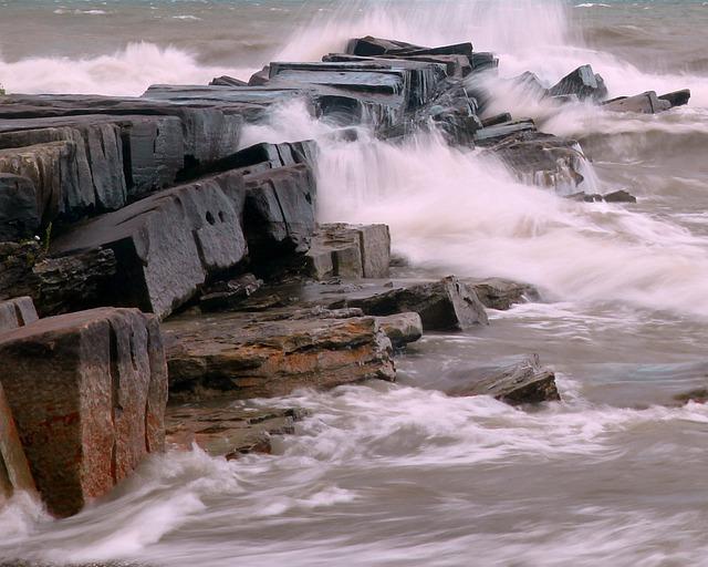 Breakwall, Lake, Shore, Water, Harbor, Rocks, Ohio