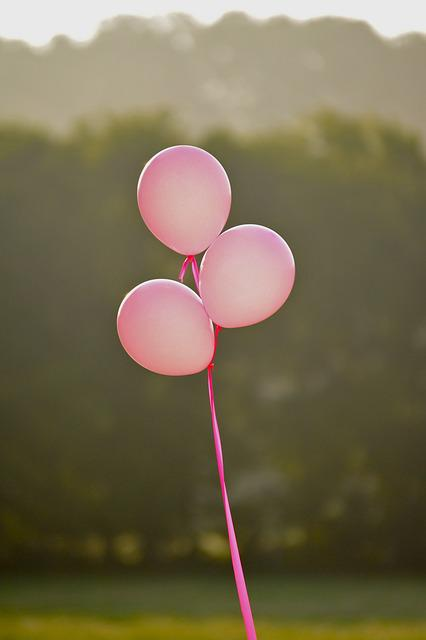 Pink, Pink Balloons, Breast Cancer, Girl, Female