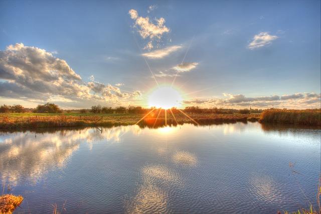 Ochtumpark, Bremen, Sunset, Lake, Park, Sunbeam