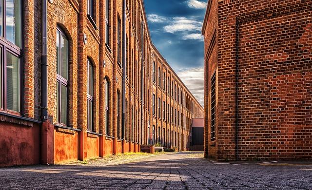 Factory, Building, Brick, Red, Terrain, Empty