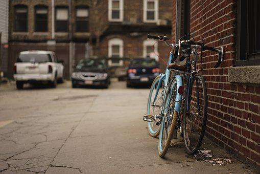 Alley, Bicycles, Brick Wall, Cars, Macro, Street