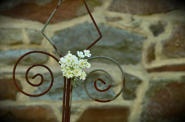 Iron Wall, White Floret, Rod, Bricked, Rusty, Old