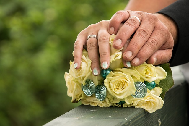 Wedding, Pair, Bride, Groom, Bridal Bouquet, Hands