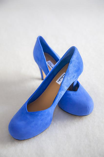 Shoe, Blue, Color, Heel, Fine, Marriage, Bride, Pump