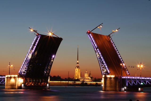 Russia, Architecture, Bridge, Night, Sankt Petersburg