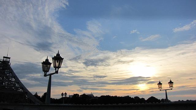 Dresden, Elbe, Bridge Blue Wonder, Sunset