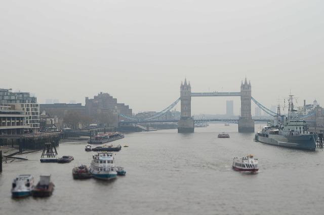 Boats, Bridge, London, Rainy
