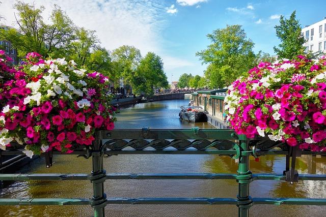 Canal, Rail, Bridge, Boat, City, Urban, Amsterdam