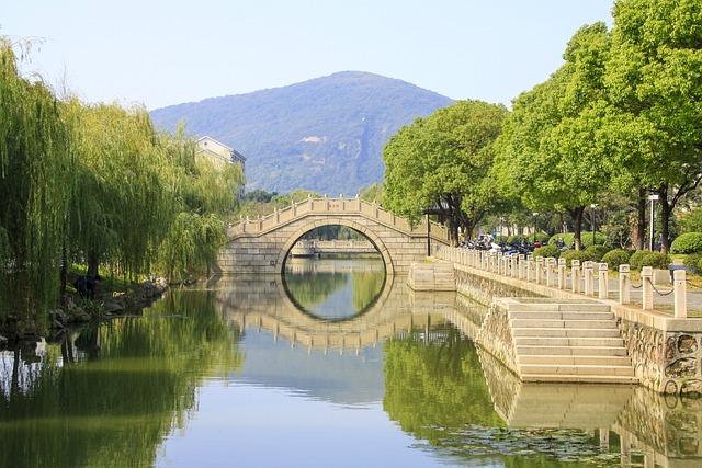 Bridge, Running Water, Trees, Wuxi, China, River