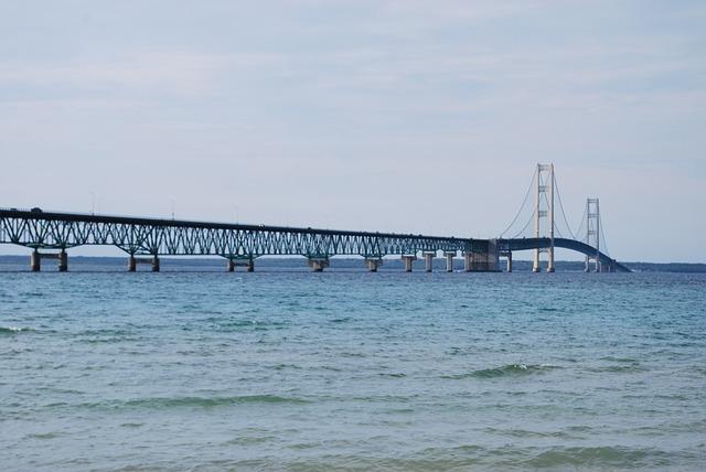 Bridge, Water, Mackinac, Lake, Crossing, Connection