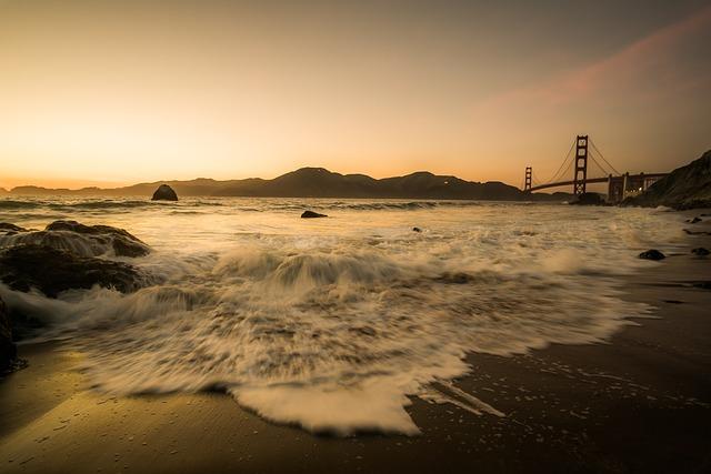 Bridge, Golden Gate Bridge, Sea, Ocean Sunset, Beach