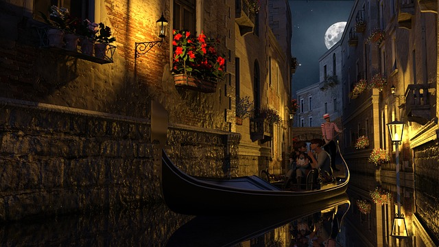 Venice, Gondola, Midnight, In Love, Gondoliers, Bridge