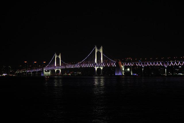 Gwangan Bridge, Night View, Sea, Bridge, Gwangalli