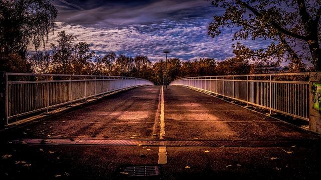 Munich, Bridge, Park, Sunset