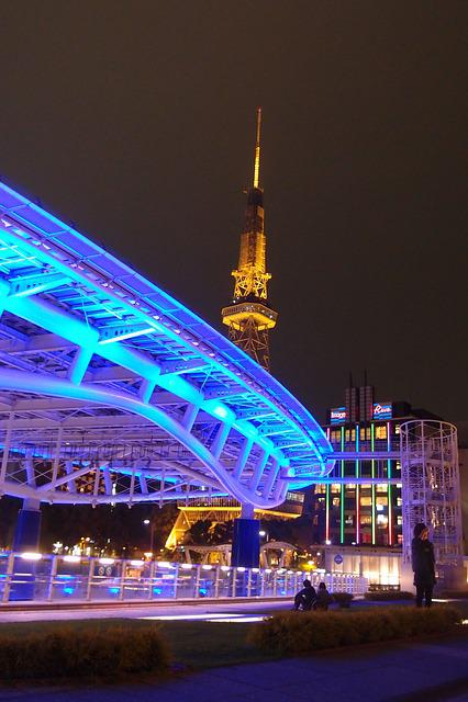 Night View, Nagoya, Japan, Bridge, Light, Late, Lights