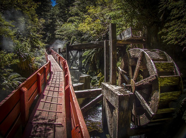Mill Wheel, Hot Springs, Bridge, Nature, Landscape