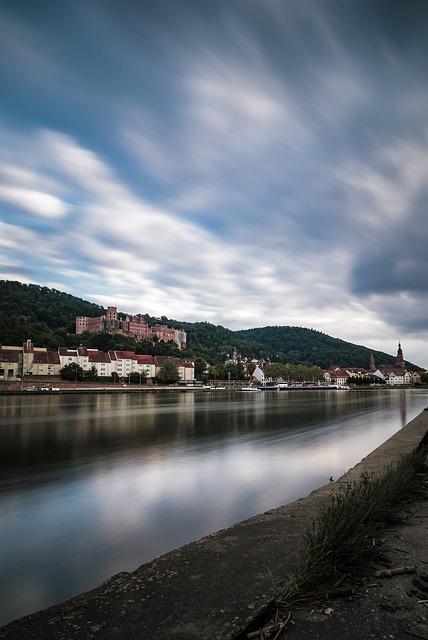 Heidelberg, Bridge, Neckar, Clouds