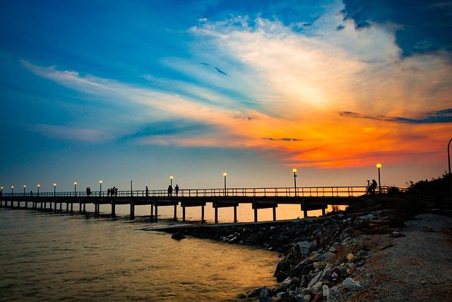 Sunset, Water, Dusk, Bridge, Dawn, Panoramic, Travel