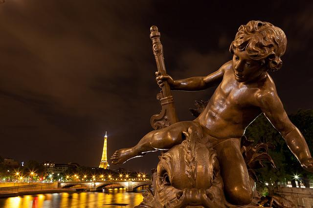 City Night, Paris, Bridge, Alexander, Statue, The Angel