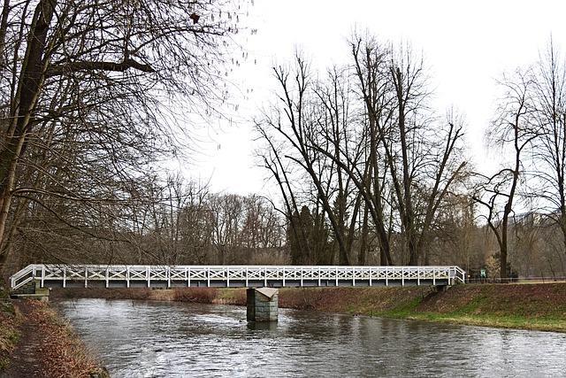 Bridge, Park, River, White Elster, Connection