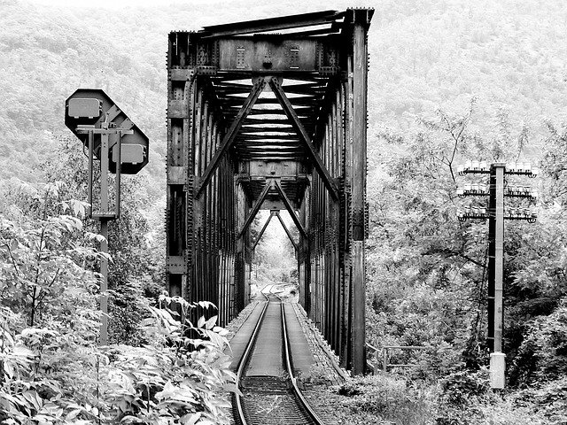 Black And White, Railway Bridge, Railway, Bridge