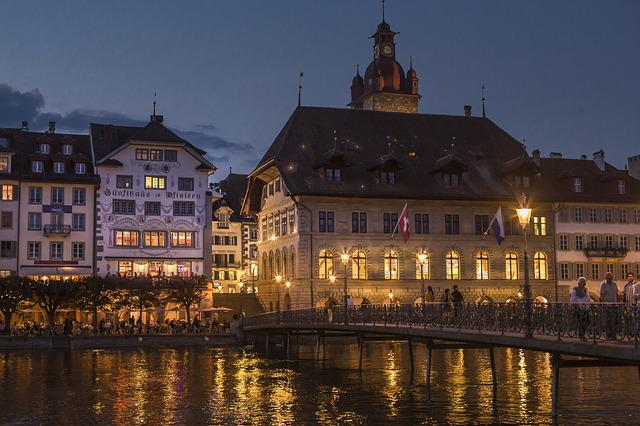 Lucerne, Town Hall, Reuss, Reussteg, Water, Bridge
