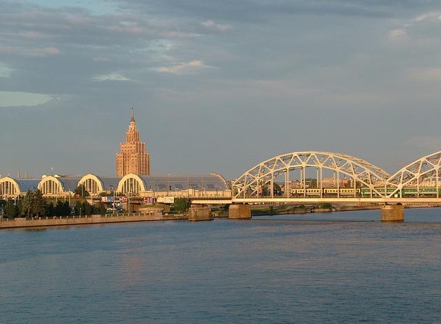 Latvia, Riga, Daugava, Bridge, Market Halls