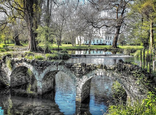 Wimbeldon Park, London, Bridge, Water, River, Uk