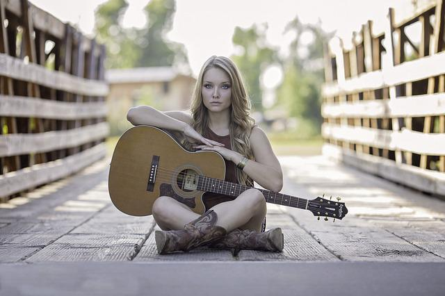 Woman, Guitar, Bridge, Sitting, Acoustic Guitar, Girl