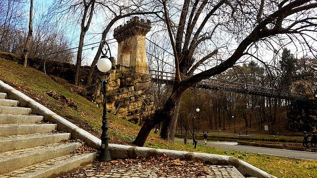 Craiova, Bridge, Park, Stairs, Lamppost, Time, Spring