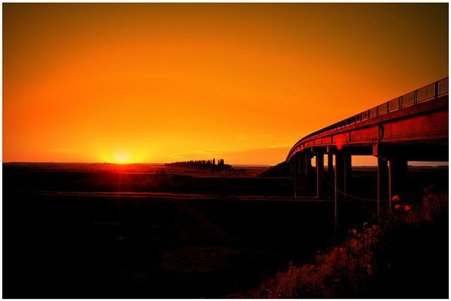 Sunset, Sun, Bridge, Red