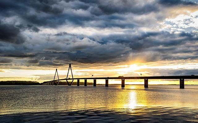 Baltic Sea, Bridge, Denmark, Sea Bridge, Sunset