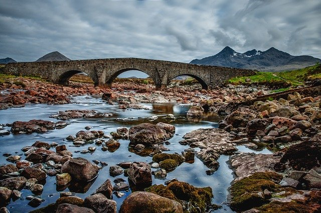 Bridge, Scotland, Sky, Blue, Water, Masonry, Clouds