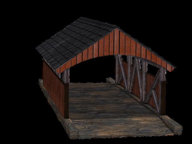 Bridge, Wooden Bridge, Passage, Wooden Roof, Boards