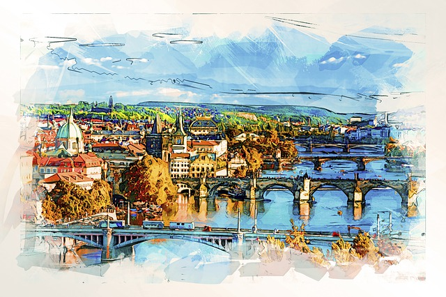 Bridges, Prague, Czechia, Water, City, Town, Cityscape