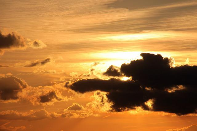 Sunset, Sun, Clouds, Dark Clouds, Bright Cloud