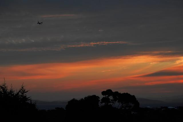 Plane, Sunset, Airplane, Fly, Sky, Nature, Bright