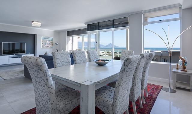 Dining Room, Living Room, Modern, White, Bright