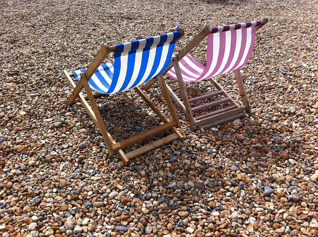 Brighton, Sussex, Uk, Beach, Pebbles, Deckchair, Chairs