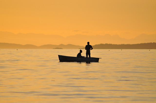 Fishing, Sunset, British Columbia, Catching Fish