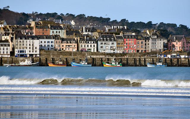 City, Sea, Wave, Boat, House, Douarnenez, Brittany