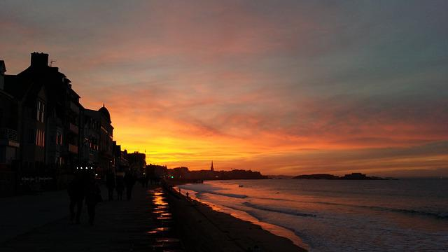 Saint Malo, Sea, Sun, Evening, Brittany