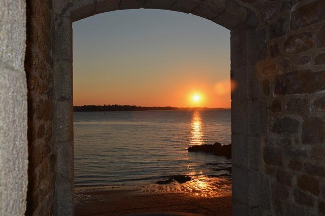 Sunset, Sea, Horizon, Sky, Colors, Brittany, Saint Malo