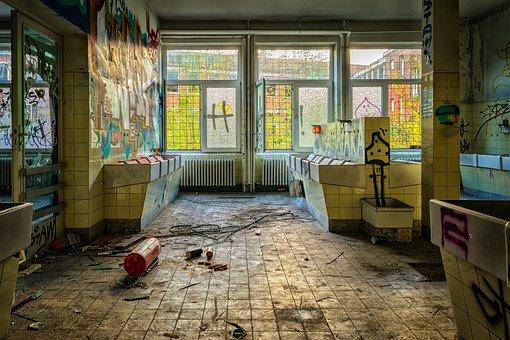 Lost Places, Washroom, Factory, Break Up, Old, Broken